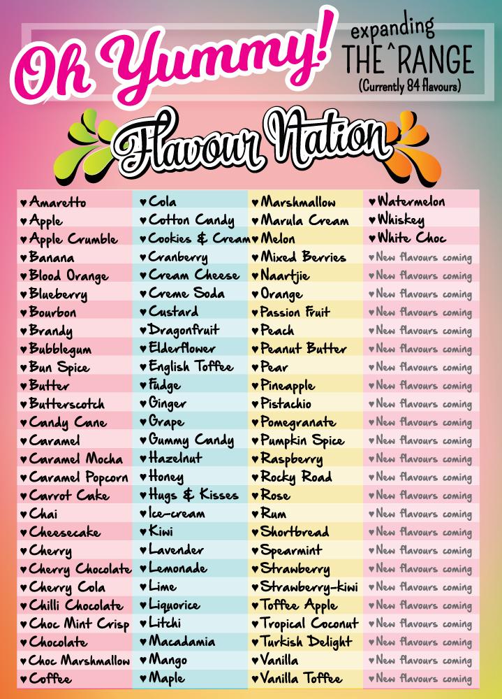 Range of Flavour Nation essences